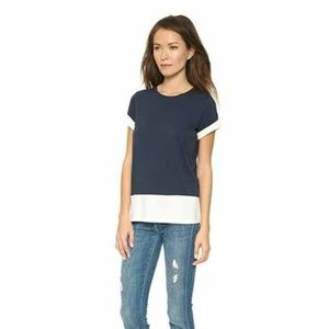 Vince Womens Color Block Navy Ivory Knit Tee Shirt